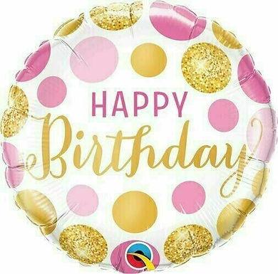 Folienballon Happy Birthday Punkte gold/pink/rosa