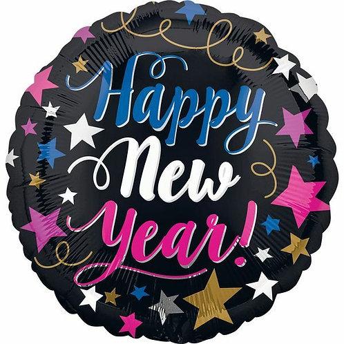 "Folienballon ""Happy New Year"" pink - weiss - blau"