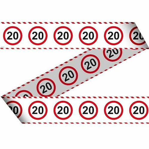 """Flatterband / Absperrband:  Verkehrsschild """"20"""""""