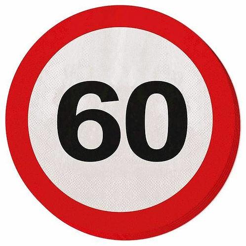 """Servietten Verkehrsschild """"60"""""""