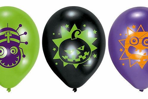 6 Latex-Ballons, diverse Halloween Motive, ungefüllt