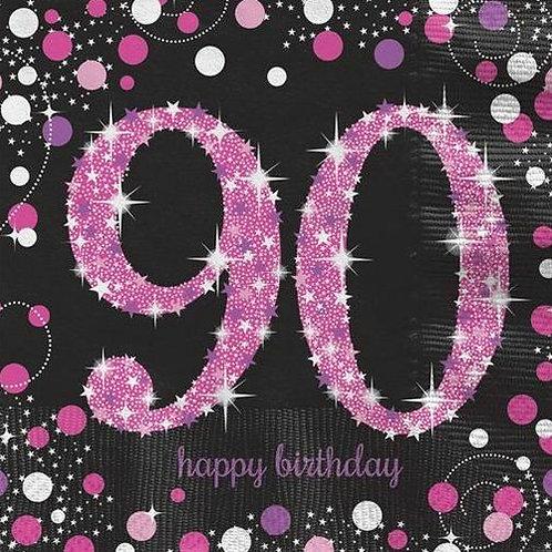 """Servietten  """"Happy Birthday 90"""" in pink/schwarz"""