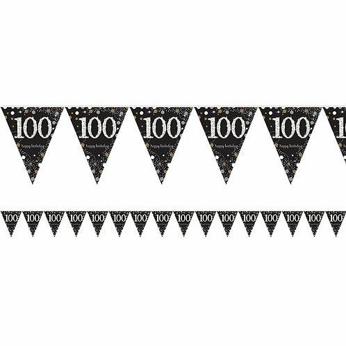 """Wimpelkette """"100 Happy Birthday"""" in gold/silber/schwarz"""