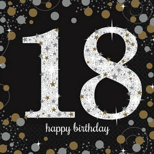 """Servietten  """"Happy Birthday 18"""" in gold/silber/schwarz"""