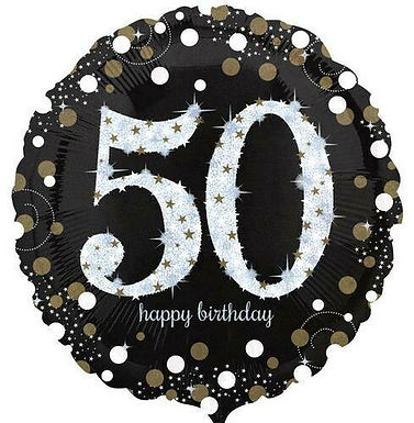"Folienballon ""Happy Birthday 50"" glitzernd gold/silber/schwarz"