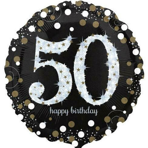 "Folienballon ""Happy Birthday 50"" glitzernd gold/silber/schwarz"