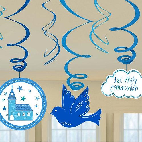 Hängedekoration zur Erstkommunion, blau