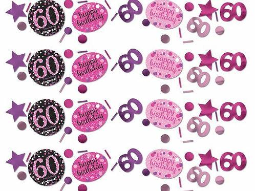 Tischkonfetti zum 60. Geburtstag in pink/schwarz