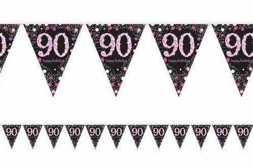 """Wimpelkette """"90 Happy Birthday"""" in pink/schwarz"""