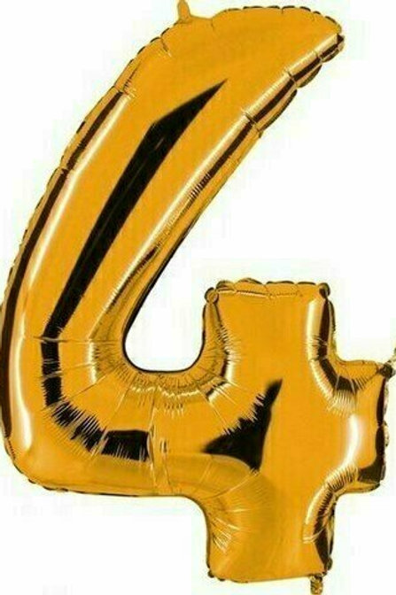 """Kleine Zahl """"4"""" - gold, zum selbst aufblasen (Luft)"""