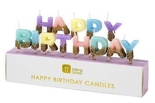 """Kerzen """"Happy Birthday, pastell"""""""