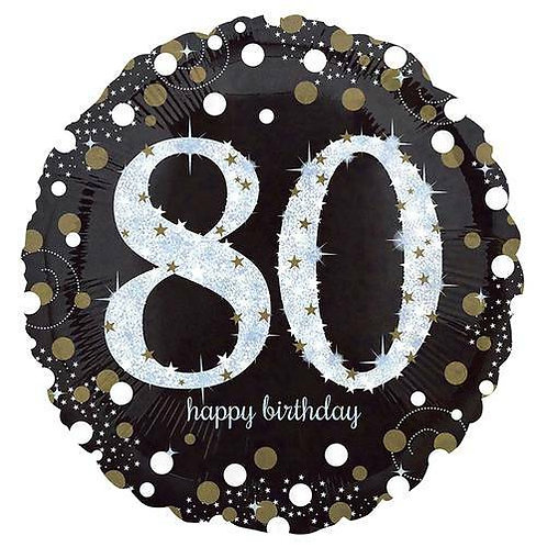 "Folienballon Birthday ""80"" glitzernd gold/silber/schwarz"