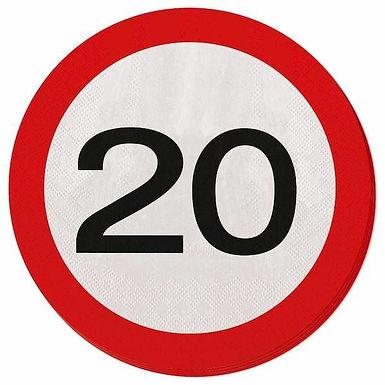 """Servietten Verkehrsschild """"20"""""""