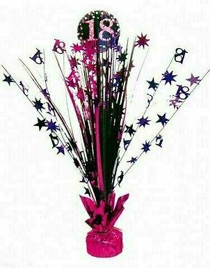 Centerpiece/Tischdeko zum 18. Geburtstag in pink/schwarz