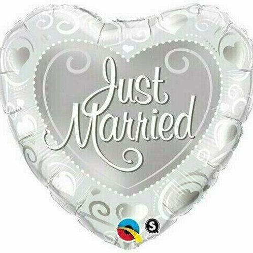 Silberne Herzen - Just married