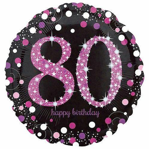 "Folienballon Birthday ""80"" glitzernd pink/schwarz"