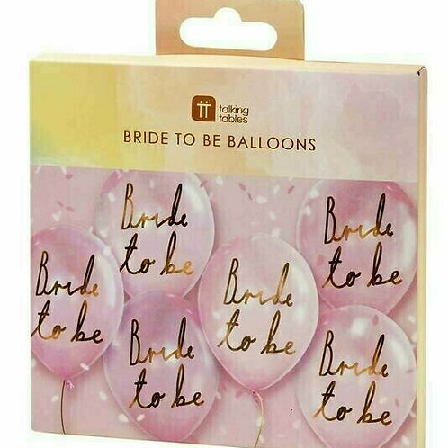 "6 Stück Latex-Ballons in rosa mit Aufschrift ""Bride to be"""