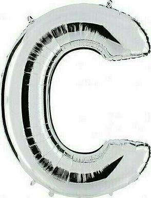 """Kleiner Buchstabe """"C"""" - silber, zum selbst aufblasen (Luft)"""