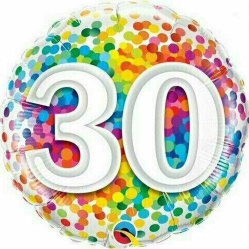 "Folienballon Birthday ""30"" Regenbogen-Punkte"