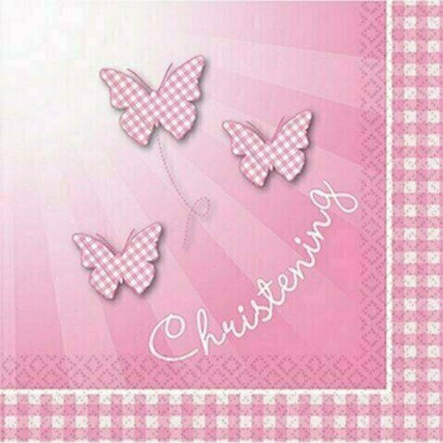 """Servietten: Taufe Mädchen """"Rosa mit Schmetterlingen"""""""