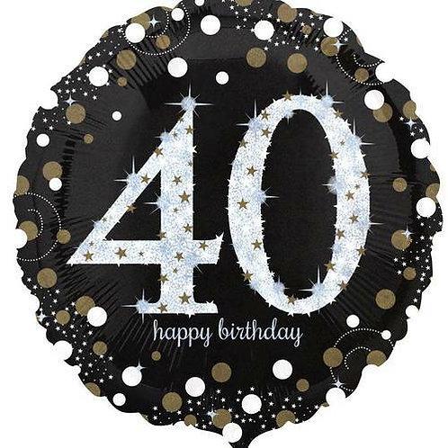 "Folienballon ""Happy Birthday 40"" glitzernd gold/silber/schwarz"