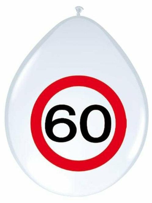 """8 Latex-Ballons, Verkehrsschild """"60"""""""
