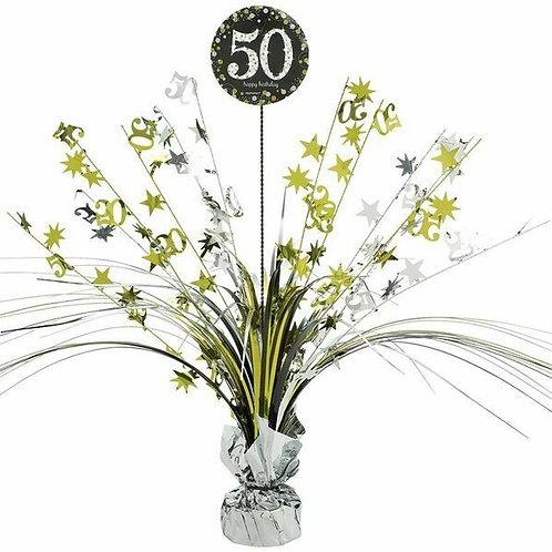 Centerpiece/Tischdeko zum 50. Geburtstag in gold/silber/schwarz