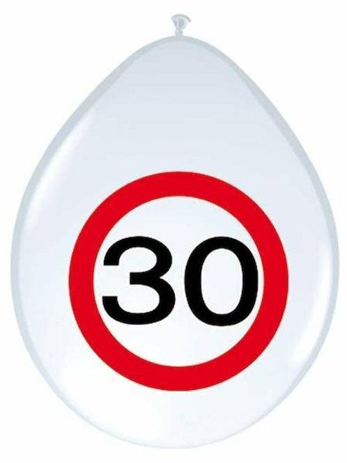 """8 Latex-Ballons, Verkehrsschild """"30"""""""