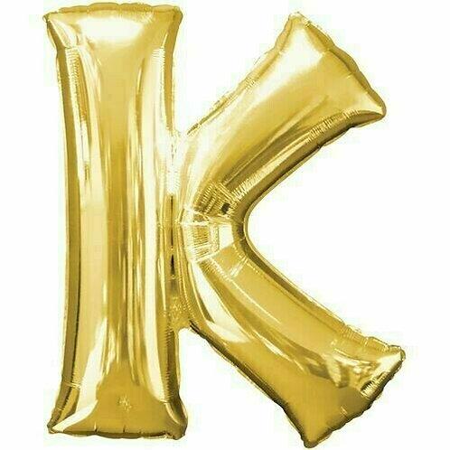 """Kleiner Buchstabe """"K"""" - gold, zum selbst aufblasen (Luft)"""