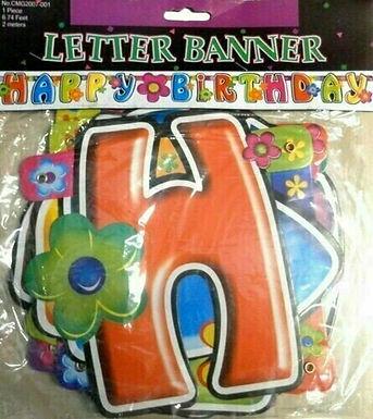 "Happy Birthday Girlande ""Flower Power"""
