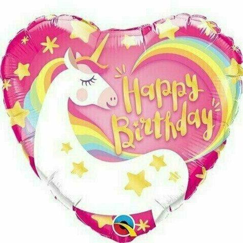"""Folien-Herzballon Happy Birthday """"Einhorn"""""""