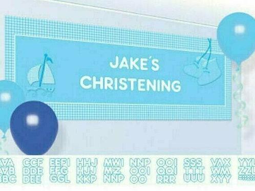 Personalisierbares Banner zur Geburt oder zur Taufe / Junge