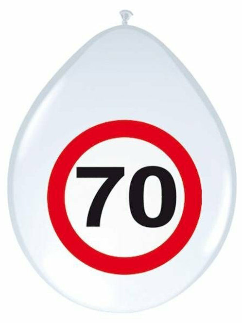"""8 Latex-Ballons, Verkehrsschild """"70"""""""