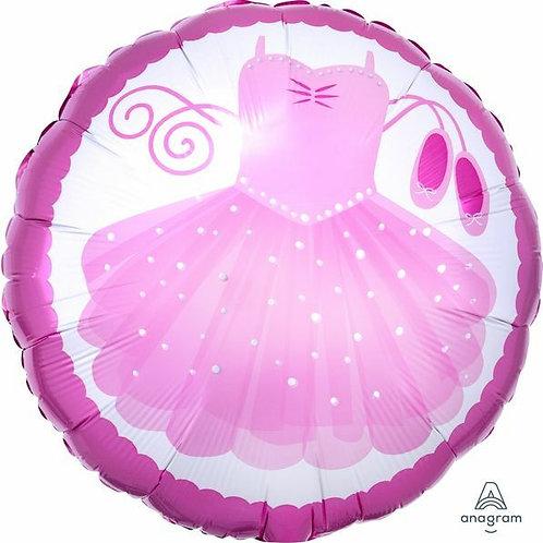 Folienballon rund:  Ballerinakleid, rosa