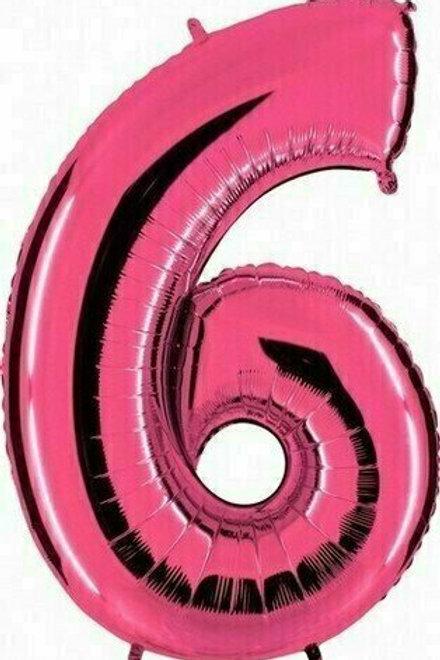 """Riesenzahl """"6"""" - pink"""