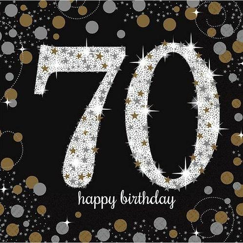 """Servietten  """"Happy Birthday 70"""" in gold/silber/schwarz"""