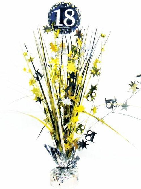 Centerpiece/Tischdeko zum 18. Geburtstag in gold/silber/schwarz
