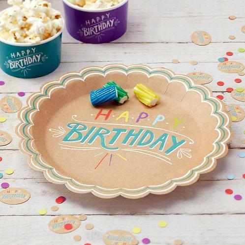 """Teller """"Happy Birthday"""", ocker/bunt"""
