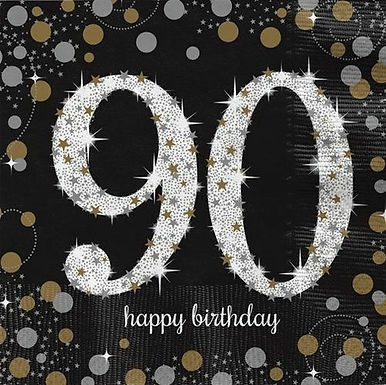 "Servietten  ""Happy Birthday 90"" in gold/silber/schwarz"