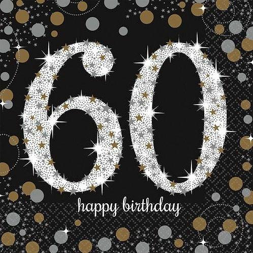 """Servietten  """"Happy Birthday 60"""" in gold/silber/schwarz"""