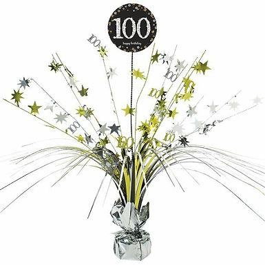 Centerpiece/Tischdeko zum 100. Geburtstag in gold/silber/schwarz