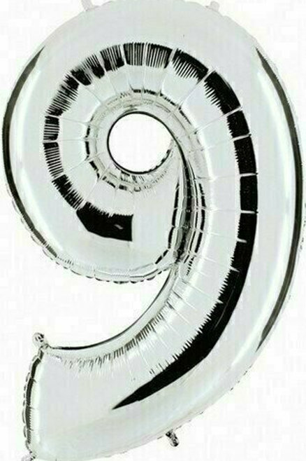 """Riesenzahl """"9"""" - silber"""