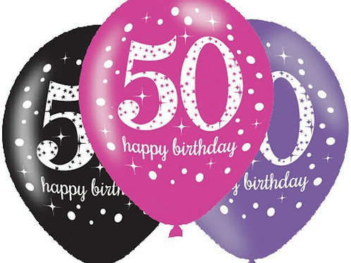 "Latexballons ""Happy Birthday 50"" in pink/lila/schwarz"