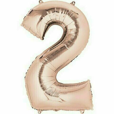 """Kleine Zahl """"2"""" - roségold, zum selbst aufblasen (Luft)"""
