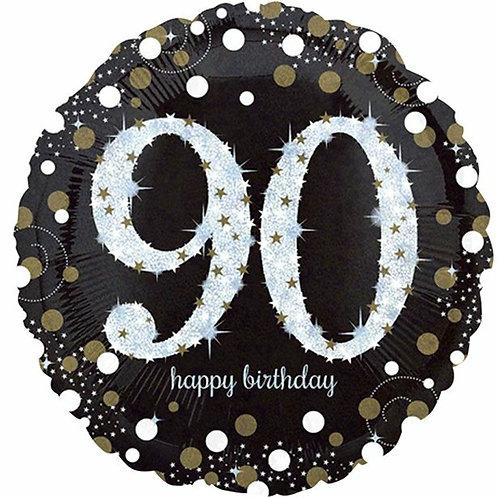 """Folienballon Happy Birthday  """"90"""" holographisch silber/schwarz/gold"""