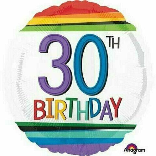 "Folienballon Birthday ""30"" Regenbogen-Streifen"