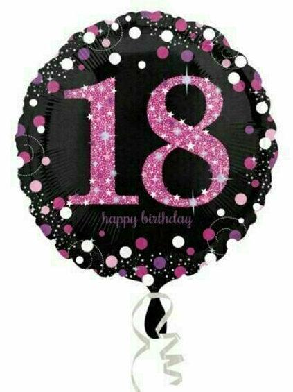 """Folienballon """"18"""" holographisch pink/schwarz"""