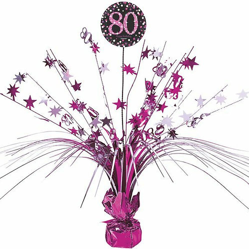 Centerpiece/Tischdeko zum 80. Geburtstag in pink/schwarz
