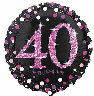 "Folienballon Birthday ""40"" glitzernd pink/schwarz"