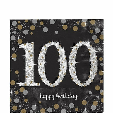 "Servietten  ""Happy Birthday 100"" in gold/silber/schwarz"